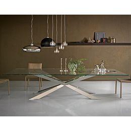 Spyder tavolo con top extrachiaro e base in acciaio inox o ottone