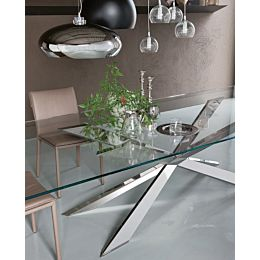 Spyder tavolo con top trasparente e base in acciaio inox o ottone