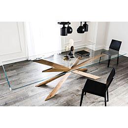 Spyder tavolo con top extrachiaro e base in legno