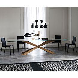 Spyder tavolo con top trasparente e base in legno