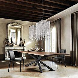 Spyder Wood tavolo con gambe verniciate - Top A