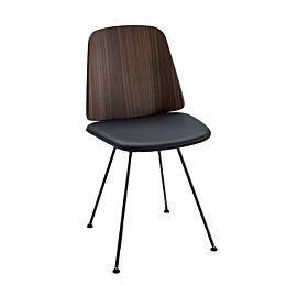 June sedia con gambe acciaio con seduta in pelle