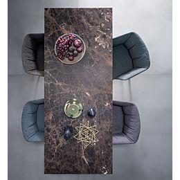 Reale tavolo in rovere con piano in Marmo Emperador o Marquinia